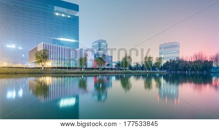 Downtown City skyline along the River in China.