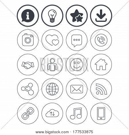 Information, light bulb and download signs. Social media icons. Speech bubble, lovers relationships and human person. Rss, share and mail envelope. Musical note, smartphone and smile. Vector