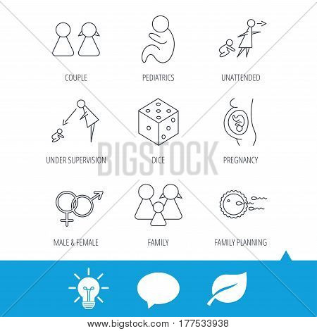 Pregnancy, pediatrics and family planning icons. Under supervision, unattended and baby child linear signs. Dice, male and female icons. Light bulb, speech bubble and leaf web icons. Vector