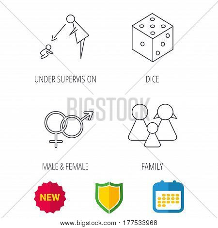 Male, female, dice and family icons. Under supervision linear sign. Shield protection, calendar and new tag web icons. Vector