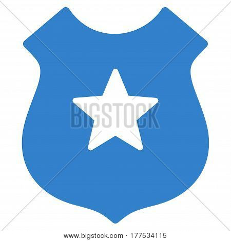 Police Shield vector icon. Flat cobalt symbol. Pictogram is isolated on a white background. Designed for web and software interfaces.