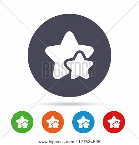 Star icon. Favorite sign. Best rated symbol. Round colourful buttons with flat icons. Vector