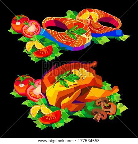 chicken, dinner, baked, fish, vector, seafood, sea, illustration, dinner