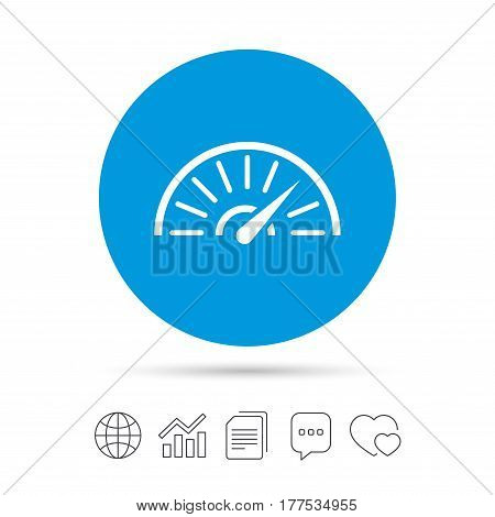Tachometer sign icon. Revolution-counter symbol. Car speedometer performance. Copy files, chat speech bubble and chart web icons. Vector