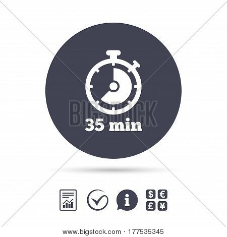 Timer sign icon. 35 minutes stopwatch symbol. Report document, information and check tick icons. Currency exchange. Vector