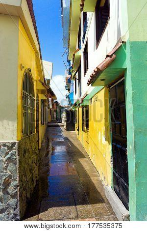Colorful alley in Las Penas neighborhood in Guayaquil Ecuador