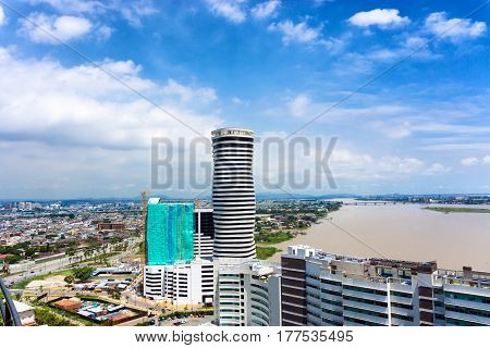 Cityscape view of the city of Guayaquil Ecuador