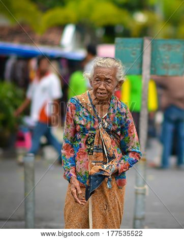 Jogjakarta, Central Java, Indonesia - Circa January 2012 - Portrait of an old Indonesian woman in Jogjakarta, Indonesia