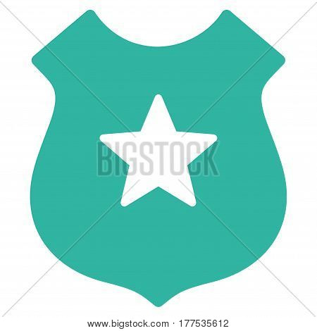 Police Shield vector icon. Flat cyan symbol. Pictogram is isolated on a white background. Designed for web and software interfaces.