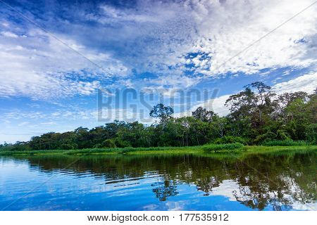 Beautiful landscape and reflection in a river in the Amazon Rain Forest near Iquitos Peru