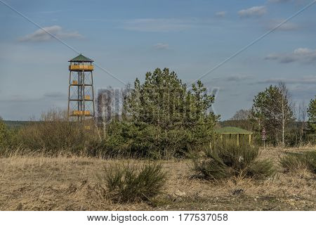 Observation tower near Bela pod Bezdezem town in spring day