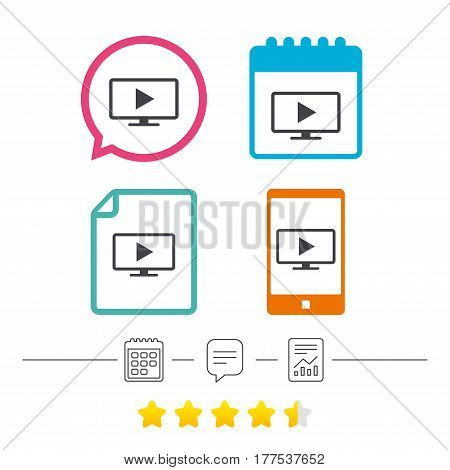 Widescreen TV mode sign icon. Television set symbol. Calendar, chat speech bubble and report linear icons. Star vote ranking. Vector