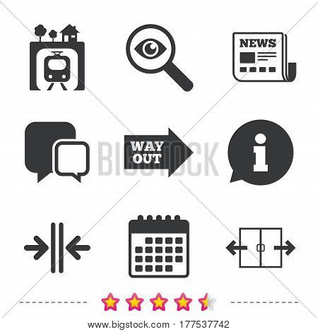Underground metro train icon. Automatic door symbol. Way out arrow sign. Newspaper, information and calendar icons. Investigate magnifier, chat symbol. Vector