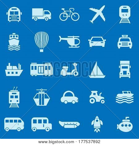 Transportation color icons on blue background, stock vector