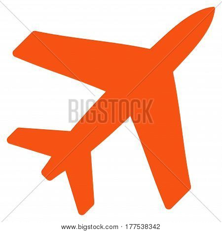 Airplane vector icon. Flat orange symbol. Pictogram is isolated on a white background. Designed for web and software interfaces.