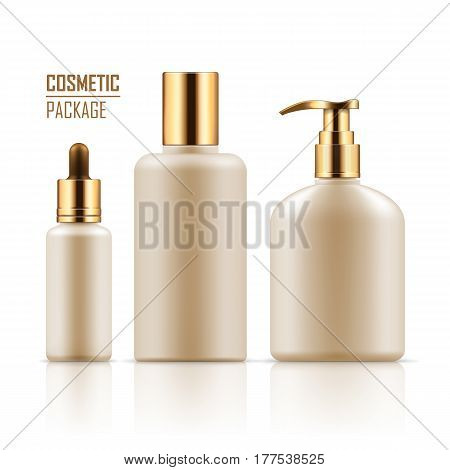 Blank template of packages. Cosmetic for hygiene and clean. Set of empty realistic plastic containers with gold caps: body cream bottle, liquid soap with dispenser. Vector mockup isolated on white.