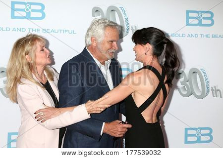 LOS ANGELES - MAR 19:  Laurette McCook, John McCook, Rene Sofer at the