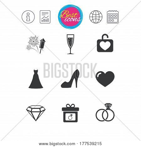 Information, report and calendar signs. Wedding, engagement icons. Locker with heart, gift box and fireworks signs. Dress, heart and champagne glass symbols. Classic simple flat web icons. Vector