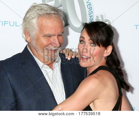 LOS ANGELES - MAR 19:  John McCook, Rena Sofer at the