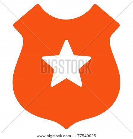 Police Shield vector icon. Flat orange symbol. Pictogram is isolated on a white background. Designed for web and software interfaces.