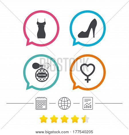 Women dress icon. Sexy shoe sign. Perfume glamour fragrance symbol. Calendar, internet globe and report linear icons. Star vote ranking. Vector