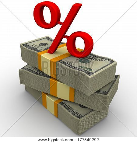 Percentage rate. Packs of American dollars tied with tapes on a white surface with a red percent sign on them. Isolated. 3D Illustration