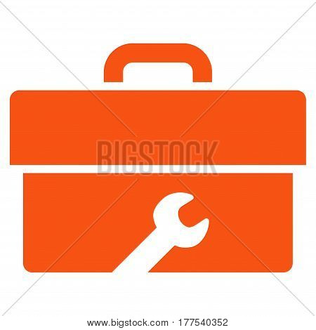 Toolbox vector icon. Flat orange symbol. Pictogram is isolated on a white background. Designed for web and software interfaces.