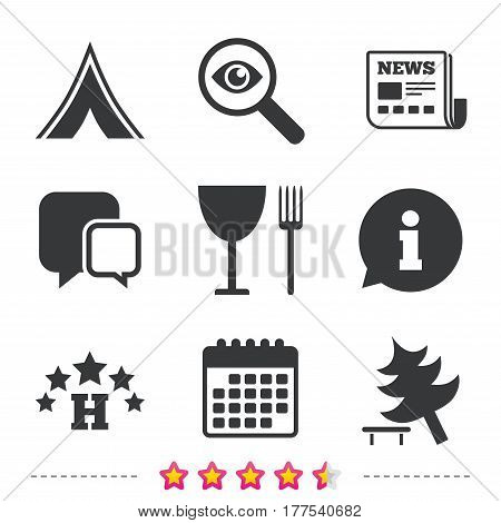 Food, hotel, camping tent and tree icons. Wineglass and fork. Break down tree. Road signs. Newspaper, information and calendar icons. Investigate magnifier, chat symbol. Vector