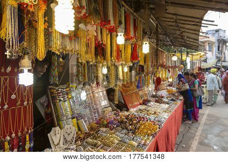 PUSHKAR INDIA-OCT 29 : gold and ornament display at street stall in marketplace of Pushkar on october29 2014 india