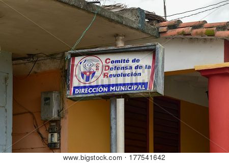 Havana, Cuba - January 7 2017: Revolutionary propaganda CDR sign representing the Committee for the Defense of the Revolution in Vinales Cuba.