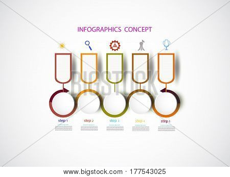 Infographics timeline design template for business concept and icons. Can be used for workflow layout diagram number options step up options web designBusiness concept presentations with 5 steps options.Vector illustration.