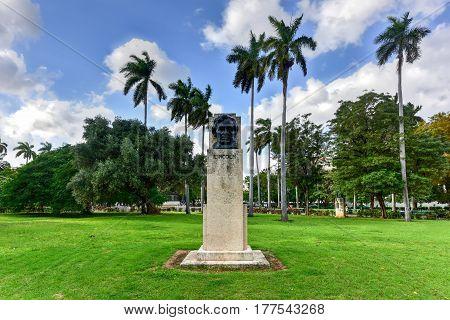 Havana, Cuba - January 7 2017: Abraham Lincoln bust in American Fraternity Park in Havana Cuba.