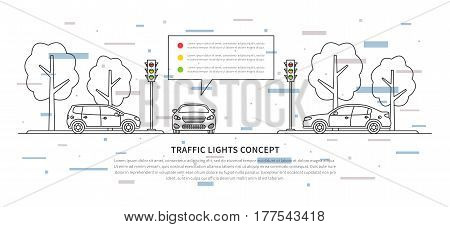 Traffic lights vector illustration with decorative elements. Street semaphores with cars creative line art concept. Electric stoplights traffic lamps graphic design.