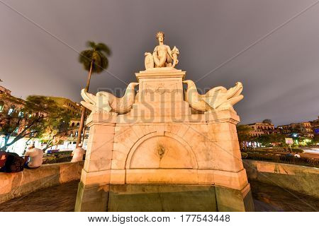 Havana, Cuba - January 7 2017: Indian Fountain or Noble Havana is a representation of the shape of the Indian or more exactly the aborigine habana wife of cacique Habaguanex from whom the name of the capital of Cuba comes.