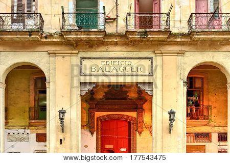 Havana, Cuba - January 7 2017: Edificio Balaguer - old run down apartments in Old Havana Cuba.