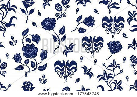 Seamless vector pattern with damask motifs. Vintage textile collection. Blue, white.