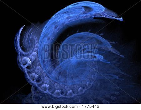This blue fractal spiral design has the appearance of a swan. In the big shape are other little spirals. Can be used as a background / backdrop. poster