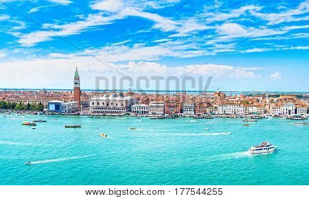 Venice panoramic landmark aerial view of Piazza San Marco or st Mark square Campanile and Ducale or Doge Palace. Italy Europe. High resolution photography.