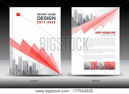 Annual report brochure flyer template Red cover design business book booklet newspaper vector