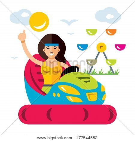 Girl drives a car bumper. Isolated on a white background