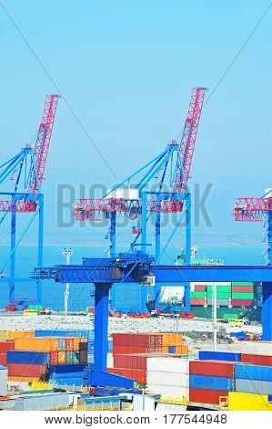 Port Cargo Crane, Ship And Container