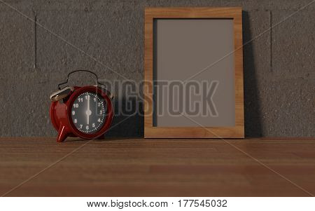 Clock on the morning with frame background 3D Rendering.