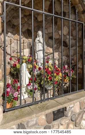 Catholic outdoor altar of Mary with flowers and decorations Salem Oregon.