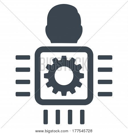 Cyborg Processor vector icon. Flat smooth blue symbol. Pictogram is isolated on a white background. Designed for web and software interfaces.