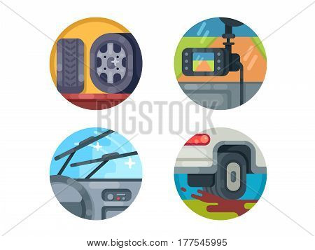 Set of auto icons. DVR and tire change. Vector illustration. Pixel perfect icons size - 128 px