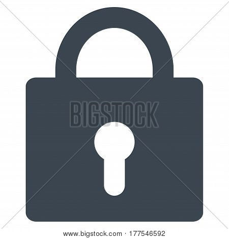 Lock vector icon. Flat smooth blue symbol. Pictogram is isolated on a white background. Designed for web and software interfaces.