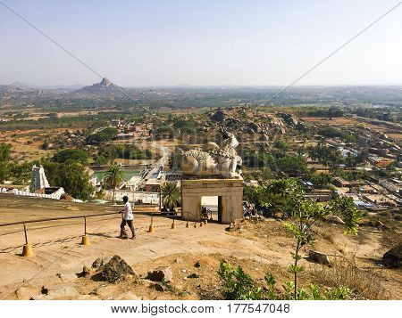 Downhill view of Shivagange hillock temple near Bangalore, India captured on March 19th, 2017