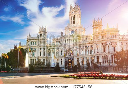 Cibeles fountain at Plaza de Cibeles in Madrid in a beautiful autumn day, Spain
