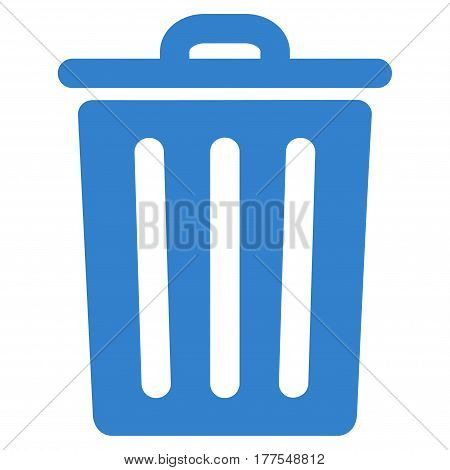 Dustbin vector icon. Flat cobalt symbol. Pictogram is isolated on a white background. Designed for web and software interfaces.