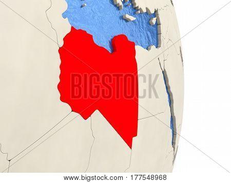 Libya On Model Of Political Globe